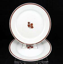 """WEDGWOOD & CO 2 PIECE IRONSTONE COPPER TEA LEAF 8 3/4"""" LUNCHEON PLATES 1862-1900"""