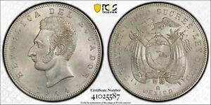 1944 Mo Ecuador 5 Sucres PCGS MS64 Silver Registry Coin KM 79 Struck in Mexico