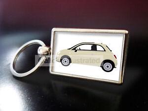 FIAT 500 (BEIGE) METAL KEY RING.