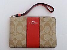 NWT Coach Women's PVC Leather Khaki Pink Corner Zip Wristlet with Strap F58035