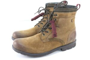 distressed brown CLARKS darian hi tobacco leather boots combat side zip 11 M