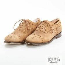 CHURCH'S Shoes 8 in Sand Beige Suede Leather Semi-Brogue KEYHAM Oxfords ENGLAND