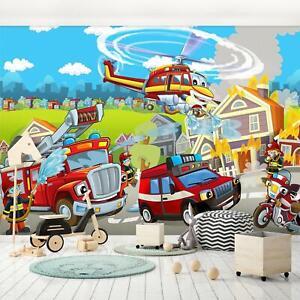 Vlies Fototapete Feuerwehr Auto Kinderzimmen Junge Für Kinder Tapete Wandtapete