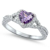 Sterling Silver 925 HEART LOVE KNOT AMETHYST CLEAR CZ PROMISE RING 8MM SIZE 4-12