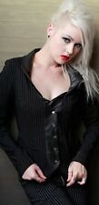 *Lip Service Gangsta Pinstripe Button Front Pleated Jacket Blazer Goth Punk S