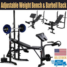 Cyber Monday Weight Bench Set Adjustable Press Lifting Barbell Exercise Workout
