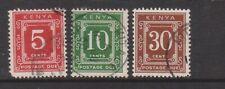 (K184-29) 1967 Kenya part set of 3stamps Postage Dues 5c to30cF/U (AD)
