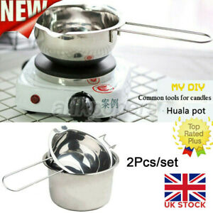 2x Stainless Steel Wax Melting Pot Double Boiler for DIY Candle Soap Making UK