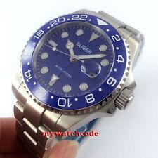 43mm bliger blue dial luminous date sapphire glass automatic mens watch P520