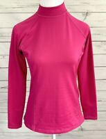 Reebok Top Womens Medium M Pink Solid Mock Neck Long Sleeve Stretch Play Dry