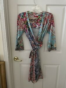 JOHNNY WAS SMALL VINTAGE MULTICOLOR FLORAL POLY BLEND 3/4 SLEEVE FAUX WRAP DRESS