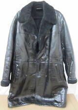 Men's PRADA Black Leather & Fur Long Coat - Size 54