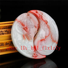 Carved Red White Dragon Phoenix Jade Pendant Necklace Charm Jewelry Lucky Amulet