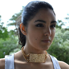 Gold Statement ID Necklace Chain Link Chunky Choker Celebrity Fashion