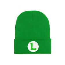SUPER MARIO LUIGI BROS GREEN LOGO EMBROIDERED BEANIE HAT CAP HALLOWEEN COSTUME
