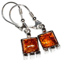 4.0g Authentic Baltic Amber 925 Sterling Silver Earrings Jewelry N-A8253