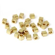 50  perles intercalaires cube - Diam. 2 mm - Couleur doré