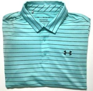 Under Armour Golf Polo Shirt Men's XL Loose Fit Striped Short Sleeve Playoff