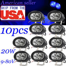 10X20W LED Forklift Truck Blue Warning Lamp Safety Working Spot Light 9-80V IP68