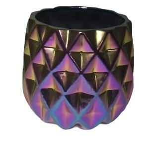 "Metallic Iridescent Geometric Vase 16"" At The Widest, 4 7/8"" Tall"