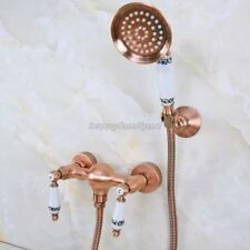 Antique Red Copper Wall Mounted Bathroom Hand Held Shower Faucet Set yna301