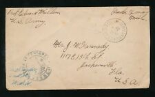 USA ARMY POST OFFICE MPES WW1 PT.EDWARD MILLSON to FLORIDA + CENSOR
