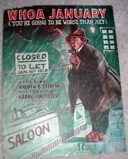 1919 Whoa January Sheet Music Prohibition Song by Von Tilzer, Sterling