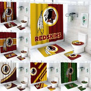 Washington Redskins Bathroom Rugs 4PCS Shower Curtain An-Skid Toilet Seat Cover