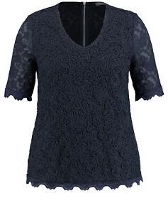 SAMOON Damen Elastisches Spitzenshirt Shirt festlich, Freizeit V-Ausschnitt