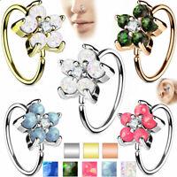 Nose ring Cartilage hoop Opal Glitter Flower Petals Center 316L Surgical Steel