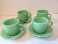 Set Of  4 Jade Glass Cups And Saucers Vintage style  Reproduction mugs green new