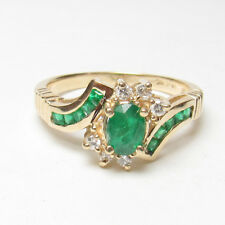 Estate $1700 14K Yellow Gold 0.45 Ct Natural Oval Green Emerald And Diamond Ring