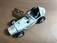 Vintage Racing Car Tin Plate Model, Ornament. Handmade, Hand Painted + Tag.