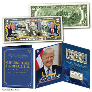 DONALD TRUMP & VP MIKE PENCE Genuine U.S. $2 Bill in 8x10 Collectors Display