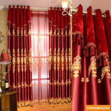European festive wedding room red embroidered cloth blackout curtain tulle N922