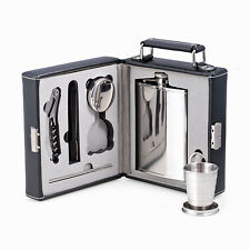 Bar Sets - 7-Piece Stainless Steel Travel Bar In Black Leather Carrying Case