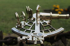 "9"" Nautical Sextant W/Box Antique Vintage Heavy Brass Navy Navigation Decor Item"