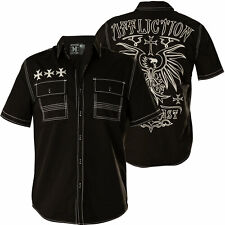 AFFLICTION Mens Button Down Shirt RUMINATE Embroidered BLACK WHITE Eagle $68 NWT
