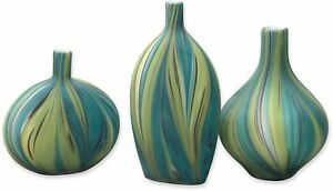 Jamie Young Stream Vessels Hand Blown Glass Vase Green Blue  Set of 3 JY-7STRE