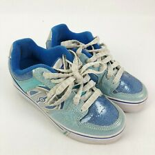 Heelys Motion Stake Wheel Shoes Youth Girls Size 2 Blue Silver Roller Sneakers