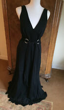 Shelana of London Vintage 1960's Black Flapper Style Maxi Dress