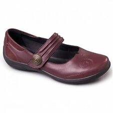 Clearance Padders Poem Ladies Eee Extra Wide Fit Mary Jane Velcro Shoes Burgundy UK 6
