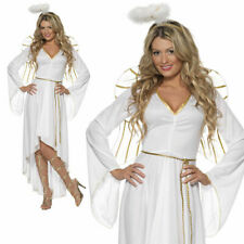Adult Ladies Christmas Angel Costume +Wings Womens Fancy Dress Xmas Party New