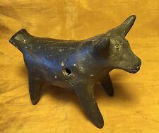 "Vtg 4.75"" Oaxaco Mexican Pottery Bull / Cow / Animal Figurine Whistle w 2-Tones"