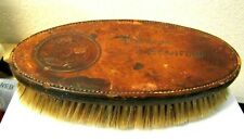 ANTIQUE HOG BRISTLE SHOE STAND BRUSH LEATHER TOP OLD HOTEL FRESNO CA RARE