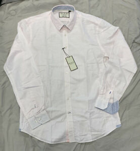 Thomas Pink Classic Fit Made Hammond Stripe NEW Sz Med $175 Cotton Linen Blend