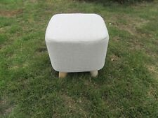 1X Square Ivory 4 Leg Wooden Foot Stool Footrest Padded Seat Office Bedroom