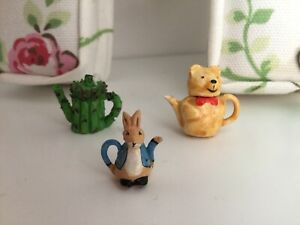 Dolls House 1/12th Scale Bundle Of Teapots - Peter Rabbit, Bear And Cabbage