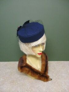 1940's Vintage Style Navy Pill Box Hat - Face Net &  Red Check Bow
