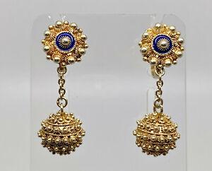 Gorgeous Vintage Portuguese Gold on Solid Silver Enamel Filigree Drop Earrings